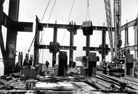 Ironworkers work on an upper level of the Sears Tower under construction in April 1973.