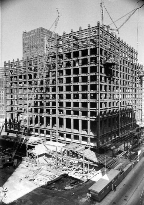 The skeleton of Sears Tower, seen from across the street at Wacker Drive and Jackson Boulevard in September 1971.