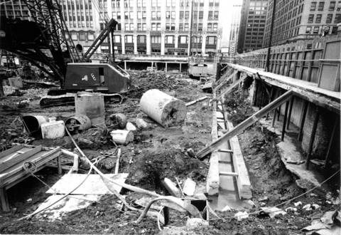 The site of Sears Tower is cleared as construction begins in 1970.