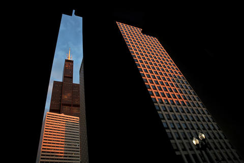 Willis Tower is framed in the columns of Union Station at sunset in Chicago on September 25, 2014.