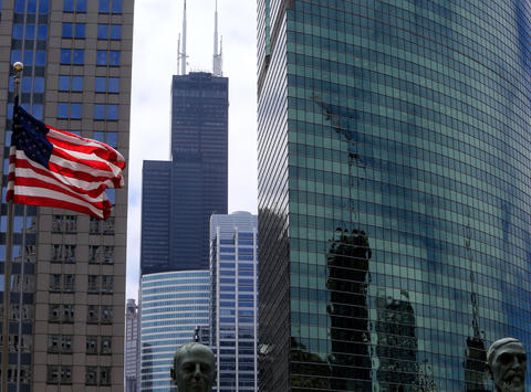 Willis Tower looms large as seen from the Merchandise Mart on June 1 2015.