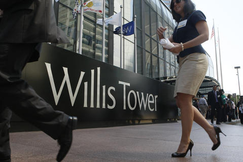 New signage adorns the newly named Willis Tower in 2009.