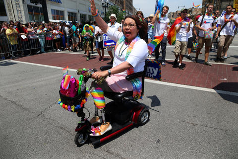 U.S. Rep. Tammy Duckworth rides in Chicago's 46th annual Pride Parade on June 28, 2015.