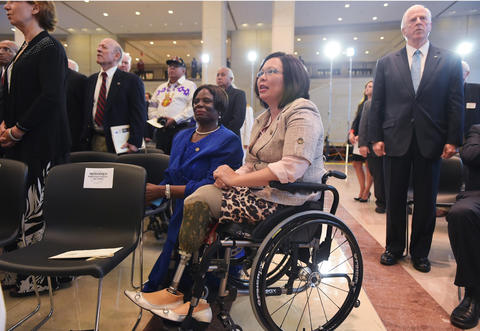 U.S. Rep. Tammy Duckworth attends a congressional ceremony to mark the 50th anniversary of the Vietnam War at the Capitol in Washington, DC on July 8, 2015.