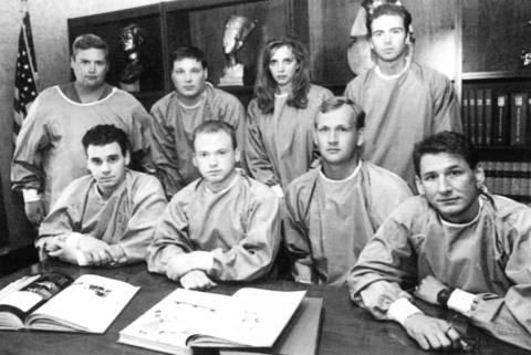 Phil Huntley, top left, Dan Eckhoff, administrator Stephanie Kann, William Wegh, and Daniel McCarthy, bottom left, Joe Adolf, Mike Langeland and Karl Koball were among volunteers from Worsham College in Wheeling who helped during the heat waveof 1995.