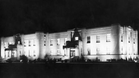 Cicero's new town hall building glows at night in 1940.