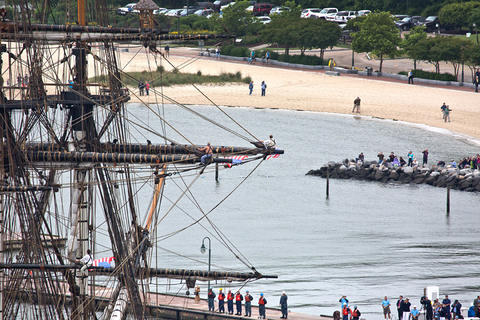 French Tall Ship Hermione arrives in Yorktown to kick off weekend of history along the waterfront on the York River Friday morning.