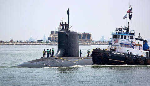 The Virginia-class submarine John Warner completed its final round of sea trials Thursday when it returned to Newport News Shipbuilding, The submarine, which is named for the retired Virginia senator, is scheduled to be commissioned Aug. 1 at Naval Station Norfolk. The submarine John Warner passes the north Island of the MMBT.