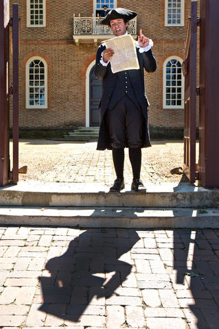 "The reading of the Declaration of Independence begins the ""Revolution in the Streets"" programming daily at 10:30 a.m. at Capitol Building at CW. This is a recreation of the Declaration first being read by then James Madison Williamsburg in 1776. Reading the Declaration on the front steps of the Capitol is Bryan Austin who is portraying James Madison."