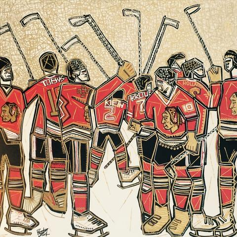 This is Ben Mosley's painting of the Chicago Blackhawks celebrating their Stanley Cup Victory. The title is Blackhawks Pride.