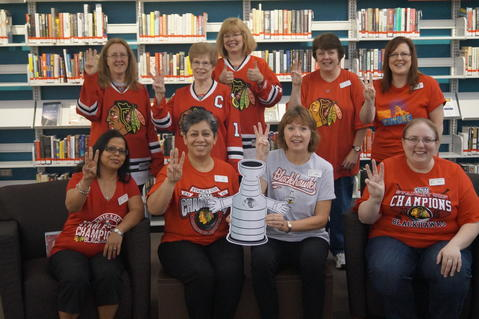 Congratulations Chicago Blackhawks for winning the Stanley Cup! We're having our own rally day at the Palatine Public Library by wearing our blackhawks gear.