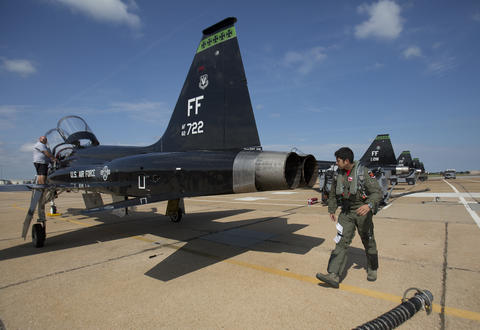 "1st. Lt. Cris ""2 Shot"" Jordan completes a plane inspection before boarding the T-38 for an adversary flight against a Langley F-22 on Aug. 21, 2015. Langley Air Force Base's 71st Fighter Squadron was officially reactivated during a ceremony on Aug. 21, 2015. The 1st will be designated as the 71st Fighter Training Squadron. 17 T-38 aircraft will provide realistic adversary air for the 1st Fighter Wing F-22 training missions."