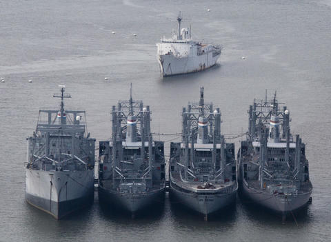 An aerial view of the Ready Reserve Fleet based on the James River off of Ft. Eustis on July 8, 2015. Shown are the Cape Juby, Cape Alexander, Cape Archway, and Cape Alava