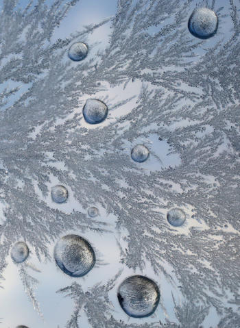 Water droplets surrounded with frost crystals rest on a windshield, frozen in place by below zero temperatures overnight.