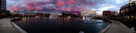 Clouds fill the sky in this panoramic view Monday evening as a cold front moves through the area bringing wind, colder temperatures and a moment of brilliant color with the setting sun.