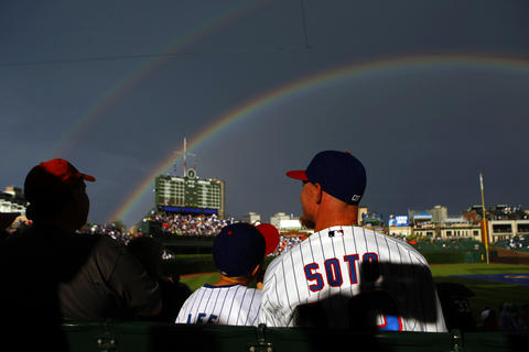 A double rainbow graces fans before the Cubs game against the White Sox in 2008.