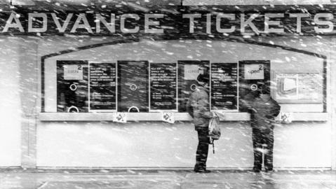 Cubs fans brave the weather to watch their team play in 1985.