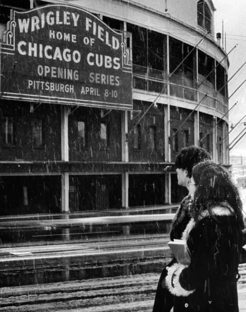 Snow falls over Wrigley Field days before the opener in 1975.