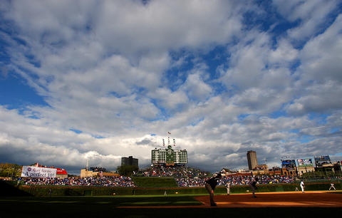 After some threatening weather, the skies clear as the Cubs play the Pirates in 2003.