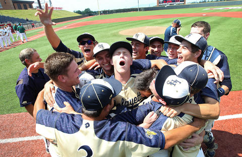 Lafayette celebrates after winning the 3A state championship beating Loudoun Valley 5-4 in Liberty University Saturday.