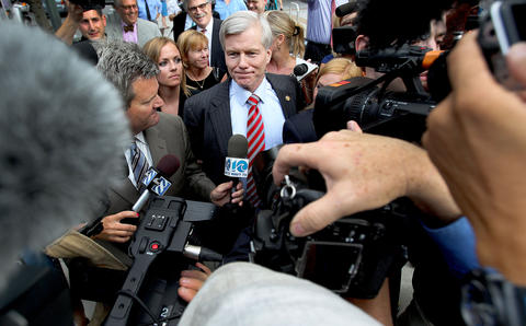 Former Virginia governor Bob McDonnell is swarmed by local and national media after leaving the federal courthouse in Richmond. The jury in his corruption case did not reach a verdict after the second day of deliberations Wednesday.