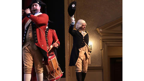 Colonial Williamsburg is sending their George Washington reenactor, Ron Carnegie, on a campaign tour of Iowa and New Hampshire this fall. Here, Washington makes a grand entrance, waving his hat to the doting crowd.