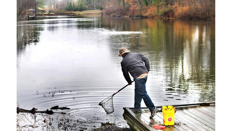 Virginia Department of Game and Inland Fisheries Biologist Scott Herrmann uses a net to scoop reachable trash out of Lake Biggins. Styrofoam take-out containers will break into bits and cause problems.