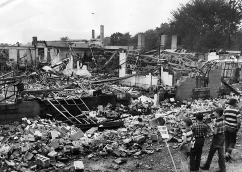 A fire completely destroyed the Regal China Company plant at 336 North Ave. in Antioch in 1953. The blaze began when chemicals exploded and along with bales of packing material sent flames towering into the sky. Fourteen other fire departments assisted, and damage was estimated at almost $600,000.