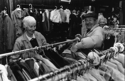 February 1991: Volunteers Evelyn Wadleigh and Sylvester Bergau help out in the Thrift Shop.