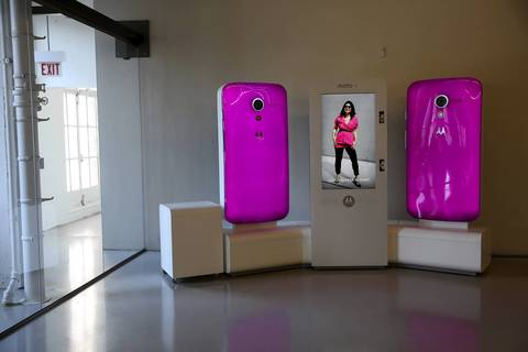 Two giant phones, constantly changing colors and imagery, decorate part of the 18th floor of the facility.