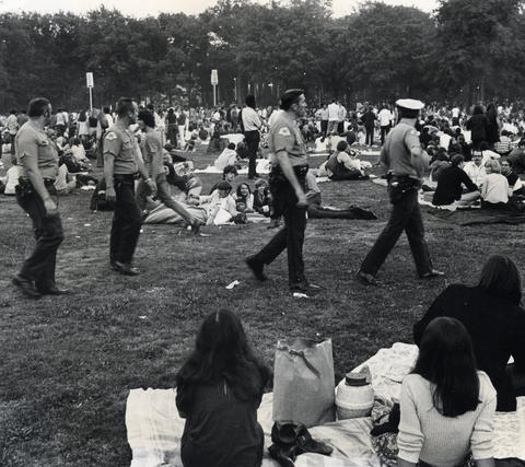 1970: Chicago police patroled the grounds to prevent an outbreak of violence. Ten days earlier, a riot broke out in Grant Park during a free concert played by Sly and the Family Stone, a few months after the band failed to show up for another appearance. Three people were shot and 150 were arrested. There were no such incidents at Ravinia.