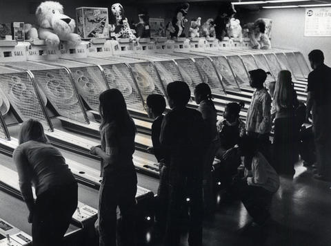 1976: Children play skee-ball at the Old Chicago Towne Arcade.