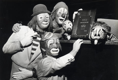 "1978: The Old Chicago clowns pose with an award for Kukla (top center) for ""Clown of the Year."" Old Chicago hosted the second-annual Clown Congress that weekend."