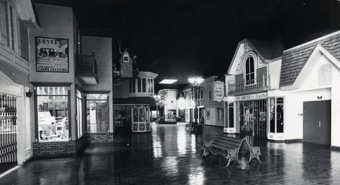 1980: The shops at Old Chicago, a month before the park was shut down and the rides were sold. Attendance had declined greatly since the 1976 opening of Marriot's Great America in Gurnee.