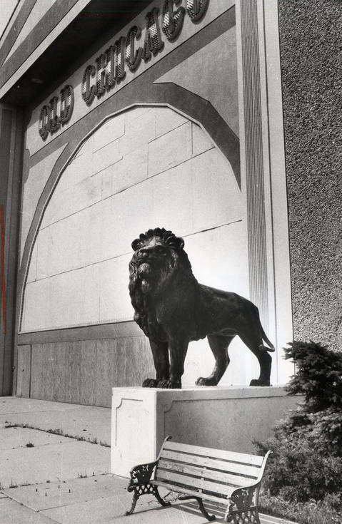 1984: Lion statues, similar to those outside the Art Institute of Chicago, survey the vacant Old Chicago amusement park and shopping center. The park went under largely because it was not able to attract a large anchor store.