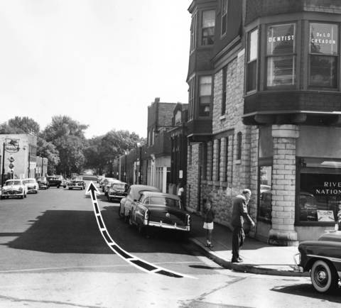 1952: The arrow in this photo illustrates the path bandits took along Quincy Street after robbing Riverside National Bank of $7,905.