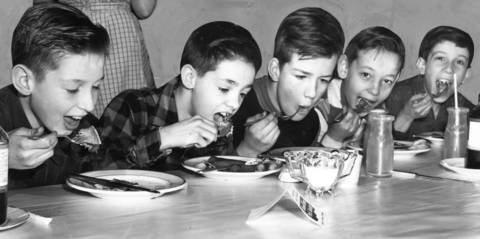 1953: (From left) Jack Goehl, Edward Davis, Eugene Woods, Charles Braun and Peter Pennino eat pancakes during a fundraiser at Brookfield Methodist Church. The breakfast was part of a fundraiser to fight polio.