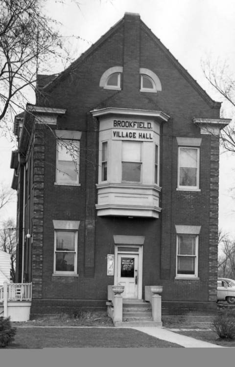 1957: An exterior shot shows the 55-year-old Brookfield Village Hall.