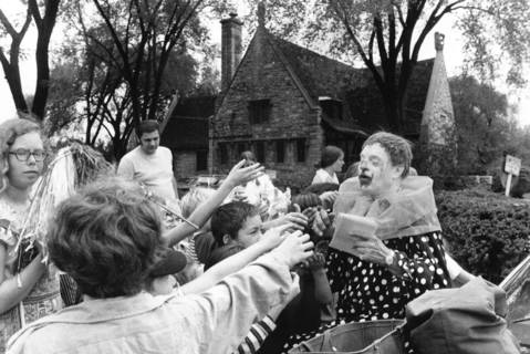 1971: Jojo the clown passes out candy in Riverside during Olmsted Day, named after Frederick Law Olmsted, the landscape architect who designed the village.