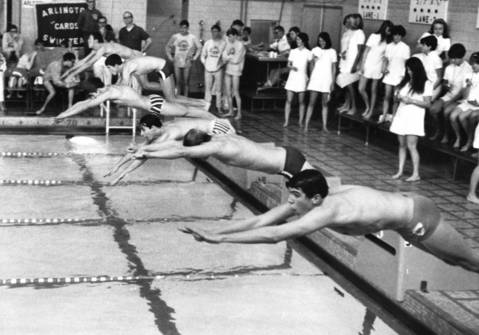 1969: Athletes compete in a swim meet at Riverside-Brookfield High School.