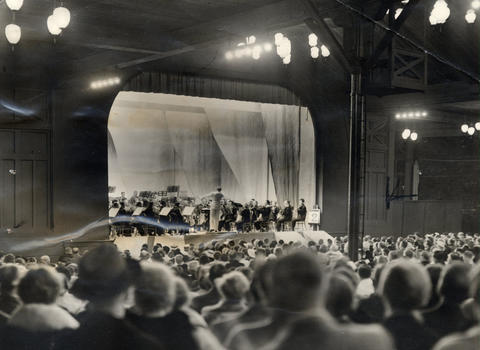 1936: View of the stage and crowd, estimated at 3,000, at the first of a series of 20 concerts at Ravinia Festival. Ernest Ansermet, a noted Swiss musician, conducted the Chicago Symphony Orchestra in its first Ravinia program.