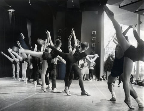 1963: Teams from the New York City Ballet rehearse a complex Balanchine finale.