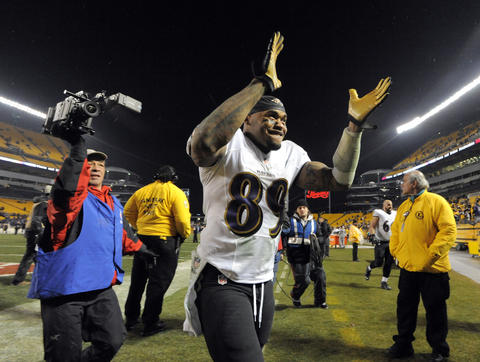 Wide receiver Steve Smith Sr. after the Ravens' 30-17 win over the Pittsburgh Steelers in the AFC wild-card playoff game at Heinz Field.