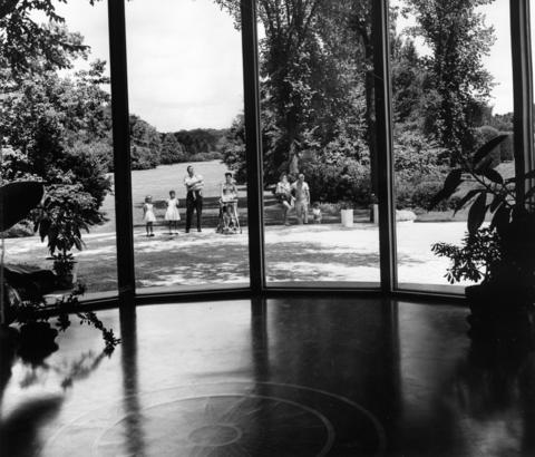 July 1962: A huge picture window offers a spectacular view from the Arboretum Center. Here visitors can register for nature courses, part of a year-round educational program for adults and children.