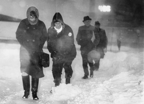 Pedestrians fight the snow along Michigan Avenue in Chicago on Jan. 26, 1967.