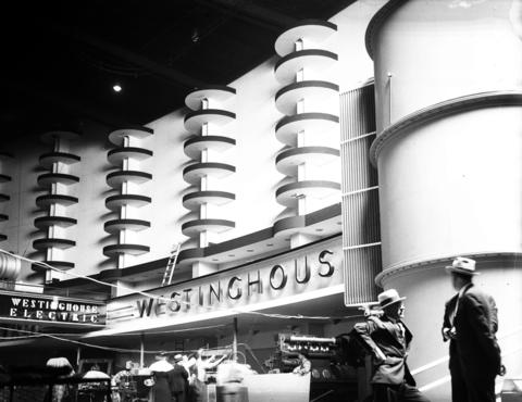 The interior of Electrical Hall shows the Westinghouse Electric exhibit at the Century of Progress Exposition in 1933.