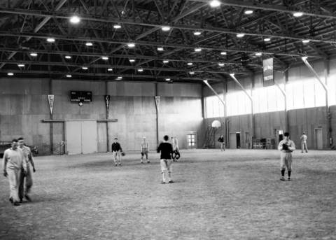 April, 1951: The interior of the new fieldhouse at Lake Forest College.