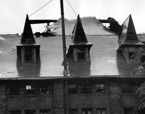 June, 1969: A view of the damage caused by a fire at the Lake Forest College girls gymnasium.