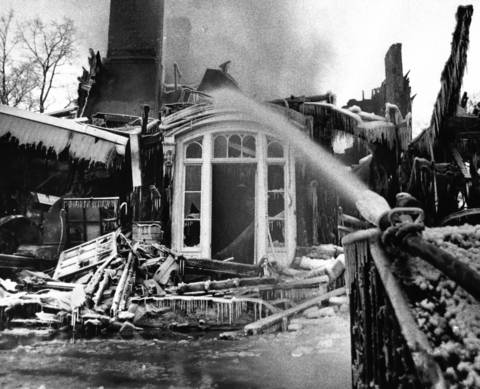 March, 1975: The 110-year-old Salisbury Mansion, destroyed by fire. The owners were in Florida at the time.
