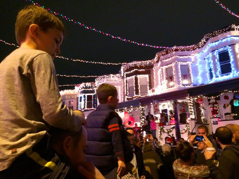 The annual lighting of Christmas lights in Hampden for the holiday season.